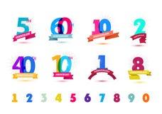 Grupo do vetor de projeto dos números do aniversário 5, 60, 10, 2, 40, 1, 8 ícones, composições com fitas Foto de Stock