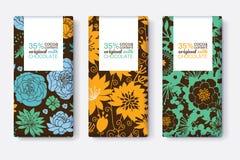Grupo do vetor de projetos de pacote da barra de chocolate com testes padrões florais azuis, amarelos, e verdes Quadro do retângu Imagens de Stock