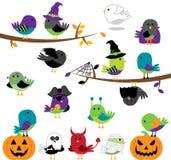 Grupo do vetor de pássaros temáticos dos desenhos animados de Dia das Bruxas Fotografia de Stock