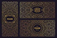 Grupo do vetor de quadros do art deco, adges, moldes abstratos do projeto geom?trico para produtos luxuosos Ornamento linear ilustração royalty free