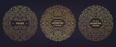 Grupo do vetor de quadros do art deco, bordas, moldes abstratos do projeto geométrico para produtos luxuosos Ornamento linear ilustração stock