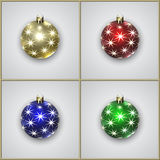 Grupo do vetor de quatro bolas da decoração do Natal com estrelas Fotos de Stock Royalty Free