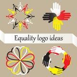 Grupo do vetor de quatro logotipos com igualdade, paz de mundo e ideia racial da diversidade ilustração royalty free