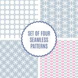 Grupo do vetor de quatro testes padrões bonitos Textura sem emenda para o papel ou Foto de Stock Royalty Free