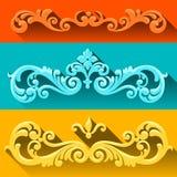 Grupo do vetor de rolos e de vinhetas no estilo vitoriano. Fotografia de Stock Royalty Free