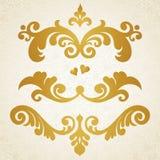 Grupo do vetor de rolos e de vinhetas no estilo vitoriano. Fotos de Stock Royalty Free