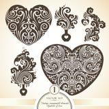 Grupo do vetor de símbolos decorativos decorativos do vintage do amor Fotos de Stock Royalty Free