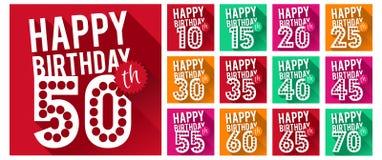 Grupo do vetor de símbolos do feliz aniversario Imagem de Stock Royalty Free