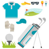 Grupo do vetor de símbolos estilizados do esporte do jogador do jogador de golfe do carro da coleção do equipamento do passatempo Imagem de Stock Royalty Free