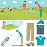 Grupo do vetor de símbolos estilizados do esporte do jogador do jogador de golfe do carro da coleção do equipamento do passatempo Imagens de Stock Royalty Free