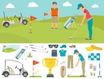 Grupo do vetor de símbolos estilizados do esporte do jogador do jogador de golfe do carro da coleção do equipamento do passatempo Fotografia de Stock Royalty Free