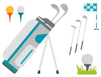 Grupo do vetor de símbolos estilizados do esporte do jogador do jogador de golfe do carro da coleção do equipamento do passatempo Imagens de Stock