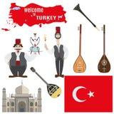 Grupo do vetor de símbolos turcos no estilo liso Fotografia de Stock Royalty Free