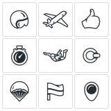 Grupo do vetor de saltar em queda livre ícones Capacete, plano, pronto, tempo, Skydiver, anel, paraquedas, lugar de aterrissagem, Fotografia de Stock Royalty Free
