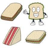 Grupo do vetor de sanduíches ilustração do vetor