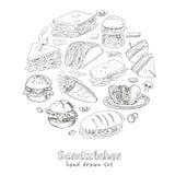 Grupo do vetor de sanduíches ilustração royalty free