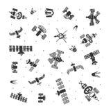 Grupo do vetor de satélite pintado à mão do espaço da garatuja Espaço do esboço ilustração royalty free
