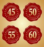 Grupo do vetor de selo vermelho 45th da cera do aniversário, 50th, 55th, 60th Fotos de Stock