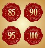 Grupo do vetor de selo vermelho 85th da cera do aniversário, 90th, 95th, 100th Imagem de Stock