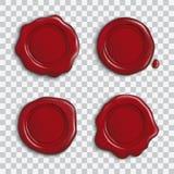 Grupo do vetor de selos brilhantes vermelhos vazios da cera com a sombra isolada no fundo transparente ilustração do vetor