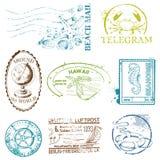 Grupo do vetor de selos retros do MAR ilustração royalty free