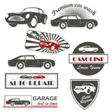 Grupo do vetor de serviço do carro dos símbolos do carro do vintage e ilustração stock