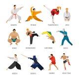 Grupo do vetor de silhueta dos povos das artes marciais isolada no fundo branco Fotos de Stock Royalty Free