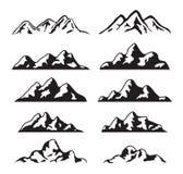 Grupo do vetor de silhueta preto e branco da montanha Fotos de Stock