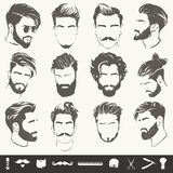Grupo do vetor de silhuetas abstratas do penteado dos homens ilustração royalty free