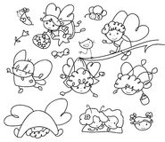 Grupo do vetor de silhuetas bonitos dos desenhos animados dos anjos Fotos de Stock Royalty Free