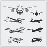 Grupo do vetor de silhuetas dos aviões Foto de Stock
