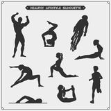 Grupo do vetor de silhuetas dos jogadores do esporte Esporte saudável ilustração stock