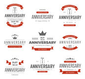Grupo do vetor de sinais do aniversário, símbolos Fotografia de Stock Royalty Free