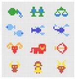 Grupo do vetor de sinais do zodíaco do pixel Imagens de Stock
