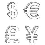 Grupo do vetor de sinais de moeda do esboço foto de stock royalty free