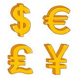 Grupo do vetor de sinais de moeda do ouro dos desenhos animados Dólar, Euro, libra inglesa e iene japonês fotografia de stock