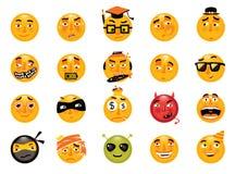 Grupo do vetor de smiley engraçados Coleção dos emoticons Imagem de Stock