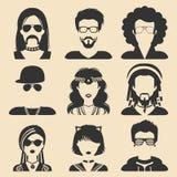 Grupo do vetor de subculturas diferentes homem e de ícones do app da mulher no estilo liso Goth, raper etc. imagens da Web Fotos de Stock