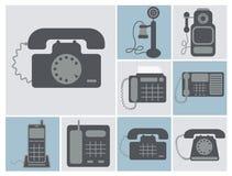 Grupo do vetor de telefones de casa do lineland, das épocas velhas ao rad moderno Foto de Stock