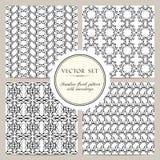 Grupo do vetor de teste padrão floral sem emenda preto e branco com snowdrops Imagem de Stock