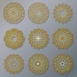 Grupo do vetor de testes padrões redondos laçado orientais dourados Ilustrações do círculo para o molde do projeto Elementos no e Fotografia de Stock Royalty Free
