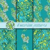 Grupo do vetor de testes padrões sem emenda com elementos florais Imagens de Stock Royalty Free