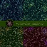 Grupo do vetor de testes padrões sem emenda com elementos florais Foto de Stock
