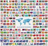 grupo do vetor de todos os estados soberanos das bandeiras de países do mundo, dependente, territórios ultramarinos e outras área ilustração do vetor