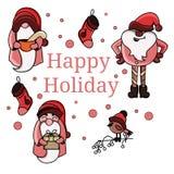 Grupo do vetor de três Papai Noel bonito no vetor ilustração stock