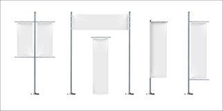 Grupo do vetor de três placas, bandeiras de matéria têxtil ou bandeiras em várias formas, para a promoção do tipo, mercado, propa Imagem de Stock