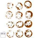 Grupo do vetor de traços de um copo de café Espirra e segue do cof Fotos de Stock