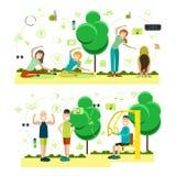 Grupo do vetor de treinamento fora dos símbolos lisos dos povos, ícones ilustração stock