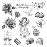 Grupo do vetor de Valentim do vintage e de coleção tirados mão do dia de casamentos ilustração stock