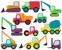 Grupo do vetor de veículos bonitos da construção ilustração royalty free